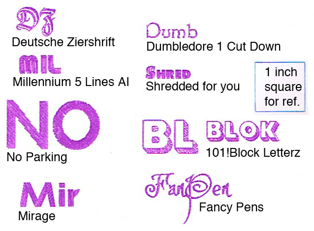 Still more pre-filled gel pen fonts