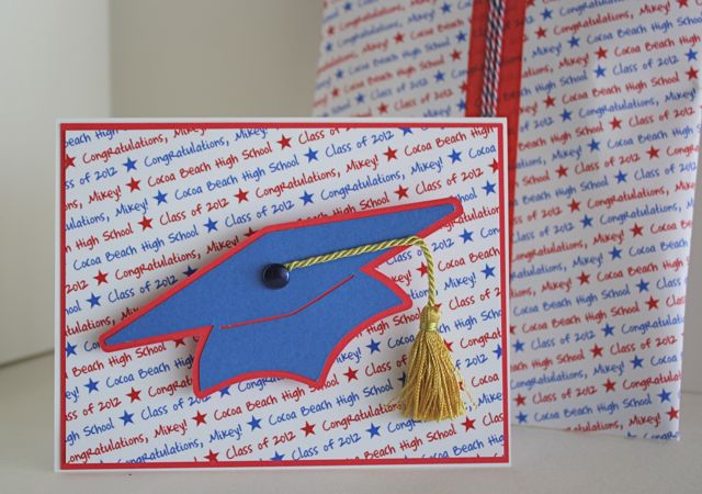 Grad card with custom background paper