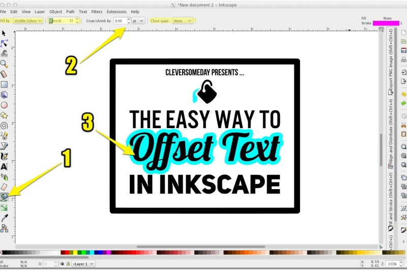 Offset text In Inkscape the easy way