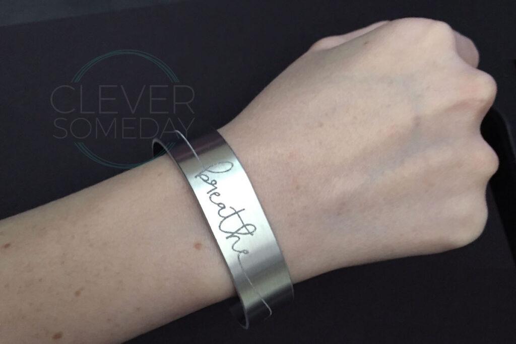 Photo of finished bracelet being worn